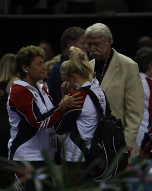 Nastia Liukin with Bela and Martha Karolyi. Photo: Heather Maynez