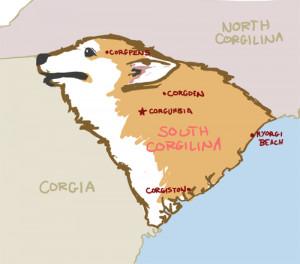 dog Illustration art funny cute corgi pun Sketch map South Carolina