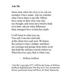 Ask Me - William Stafford