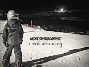 Night Snowboarding Moonlit...