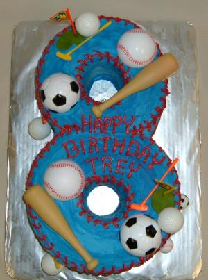 Custom shaped numeral Sports Cake! Happy 8th Birthday Trey!