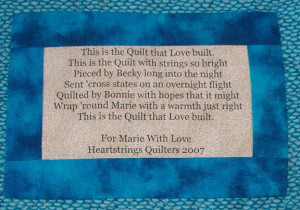 this is the quilt that love built this is the quilt with strings so ...