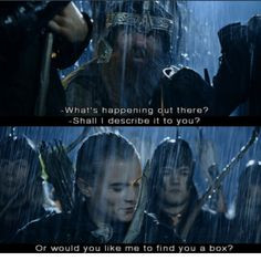 legolas and gimli shall i describe it to you or would you like me to ...