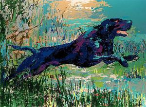 leroy neiman nieman serigraph black labrador dogs hunting