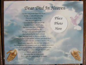Dear Dad, (Mom, Son, Daughter, etc) in Heaven Personalized Poem