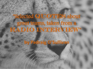 Selected Quotes about Great Teams from a Radio Interview by Padraig O ...