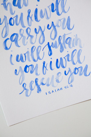 Written Word Calligraphy Blue Watercolor-3