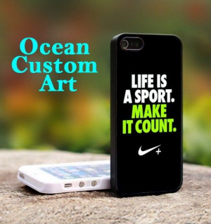 Nike Quotes Life - Print on Hard Cover iPhone 5 Black Case