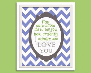 Jane Austen quote nursery art print. Literature quote book wall art ...