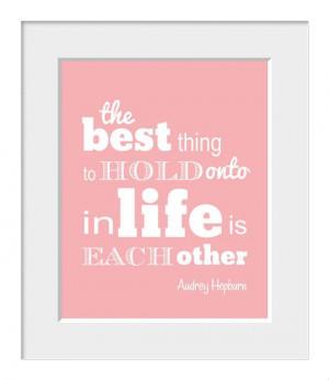 Audrey Hepburn, Inspirational Quote, Home Decor, Typography, Love ...