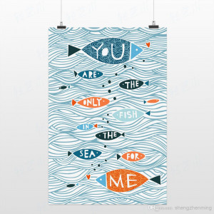 Drawing Messages The Sea Little Fish Handpainted Blue Picture Ocean ...
