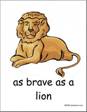 ... animal simile poster as brave as a lion expression figure of speech