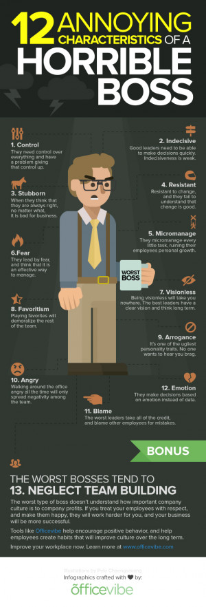 12 Characteristics Of A Horrible Boss [Infographic]