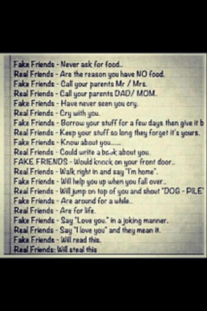 Fake friends and real friends