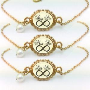 Sisters Gift, Big Sis Mid Sis Lil Sis Bracelet Set of 3, Big Sister ...