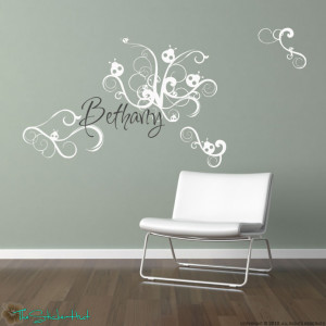 Details about Ladybug Swirls with Your Name Wall Stickers Decals 828