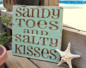 Beach Sign Sandy Toes Salty Kisses Coastal Beach House Nautical and ...