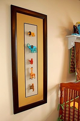 nursery artwork with framed toys for baby room ideas