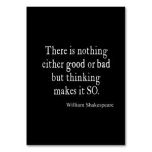 Nothing Good or Bad Thinking Shakespeare Quote Large Business Cards ...