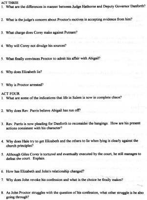 The Crucible Quotes Act 1 Crucible - movie (continue questions)