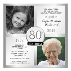 80th birthday invitations | Silver 80th Birthday Invitations Then ...