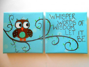 ... - One w/Quote One w/Owl - Boy or Girl Nursery Owl Wall Art - Custom
