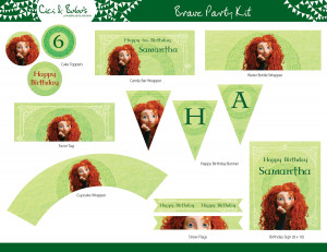 Brave Birthday Party Printable Set Cupcake Toppers Banner picture