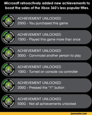 retroactively added new achievements to boost the sales of the Xbox ...