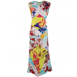Christian LaCroix Sleeveless Peacock Floral & Butterfly Print Silk ...