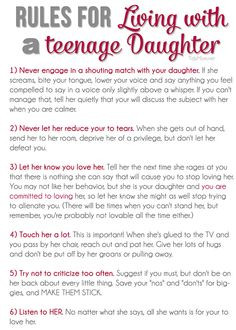 ... for Living with a Teenage Daughter + free printable at TidyMom.net