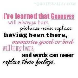 ve Learned That Goodbyes Will Always Hurt