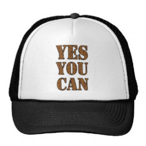 Yes You Can - Motivational Quote, Tiger Print Mesh Hats