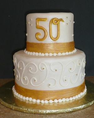 Fifty Years Golden Wedding Anniversary Cake More