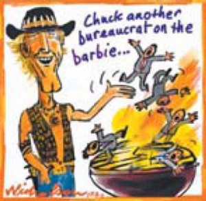 chuck another bureaucrat on the barbie note that barbie bbq