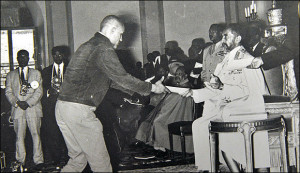Haile Gerima accepts an award from Emperor Haile Selassie