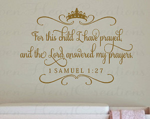 ... Crown Tiara and Accents - 1 Samuel 1 27 Scripture Baby Nursery Quote