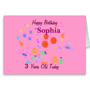 Happy Birthday 3 year old Greeting Card