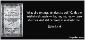 What bird so sings, yet does so wail? O, 'tis the ravish'd nightingale ...