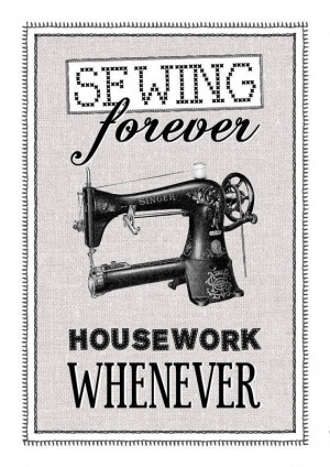 Vintage Sewing Machine Poster Print Office Study Art Make do and Mend