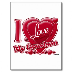Love My Grandson red - heart Postcard