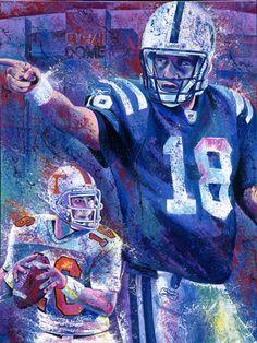 ... Peyton Manning Quarterback Indianapolis Colts Football Art ... More