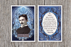 Nikola Tesla poster set, Tesla Portrait and Inspirational Quote print ...