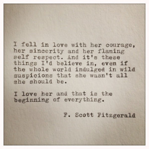 Scott Fitzgerald Love Quote Made On Typewriter also he wrote the great ...