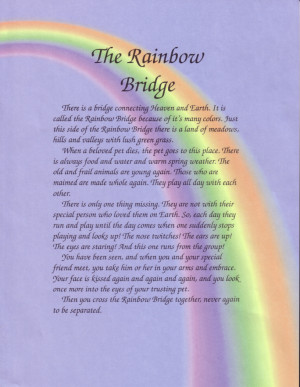 In memory of those who have crossed over Rainbow Bridge.
