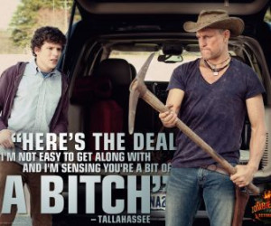 quotes zombieland jesse eisenberg woody harrelson pickaxe cowboy hats ...