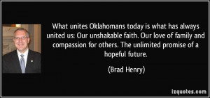 What unites Oklahomans today is what has always united us: Our ...