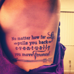 Arrow & Quotes Tattoo on Rib, Girls Side Tattoos is creative ...