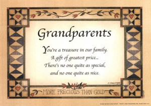 Grandparents. You're A Treasure In Our Family . A Gift Of Greatest ...