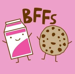 bff, chocolate, cookie, milk, nomnom, pink, sweet, text