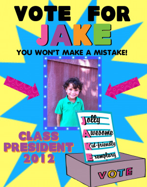 Vote for Jake class election poster
